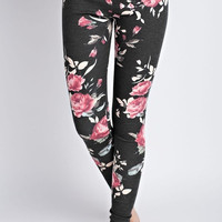 Floral Print Casual Leggings - Charcoal