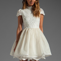 Alice + Olivia Fyona Lace Bodice Party Dress in Off White from REVOLVEclothing.com