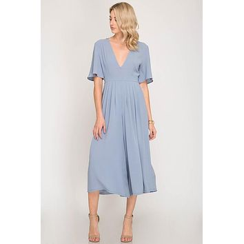 Plunging Wide Leg Midi Jumpsuit