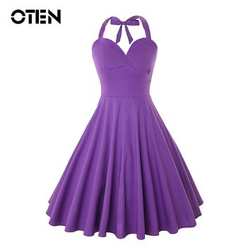 OTEN Women Sexy Summer Audrey Hepburn Style Halter Rockabilly Vintage Retro 50s 60s Pin up Skater Swing Casual Midi Purple dress