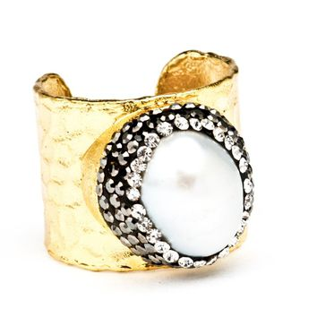 Gold Aphrodite Baroque Pearl Statement Ring