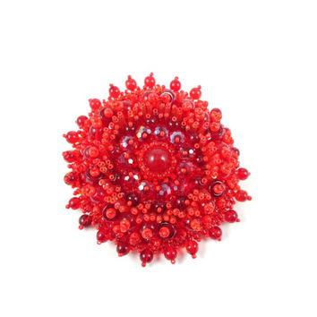 Round Red Jade Bead Embroidered Brooch Latvian designer Jewelry in bead embroidery Handmade Pin new year gift for HER Ooak