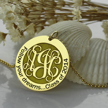 Gold Monogram Disc Necklace Personalized Engraved Initial Disc Pendant Follow Your Heart Name Necklace Faith Jewelry