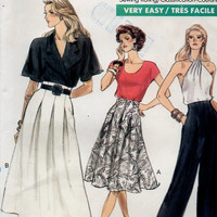 Vogue 7416 Sewing Pattern 80s Disco Style Fashion Wide Leg High Waist Pants Pleated Skirt Flared Uncut FF Size 12 14 16 Full Figure