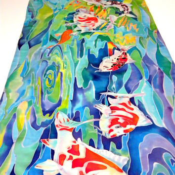 Fish art Hand painted silk handpainted scarf original painting Japanese koi fish batik unique womens scarf gift for sister mothers day gift