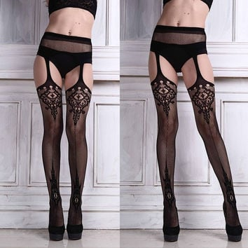 Ulamore Sexy Womens Lingerie net Lace Top Garter Belt Thigh Stocking (Size: 120cm, Color: Black) = 5617838017