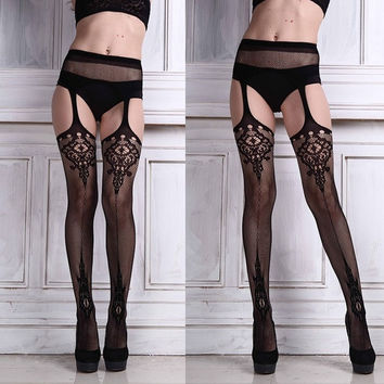 Ulamore Sexy Womens Lingerie net Lace Top Garter Belt Thigh Stocking (Size: 120cm, Color: Black) = 1932908420