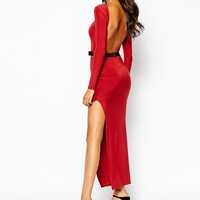 Boohoo Slinky Thigh High Split Maxi Dress