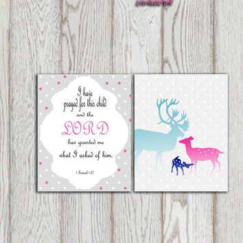 Christian wall art set print Little girls bedroom Baby shower decor 1 Samuel 1:27 I have prayed for this child Deer family Pink gray blue