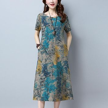 New summer Cotton Linen Dress women o-neck Short Sleeve Loose Pockets print dresses  Plus Size casual long vestidos