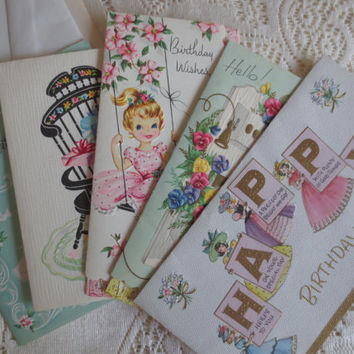 Set of 5 Unused Vintage Greeting Cards.  Birthday Cards.  Get Well Cards.  Pastel Cards.