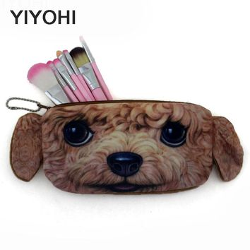 YIYOHI New 2017 Women Cartoon 3D Printing Cat Dog Zipper Makeup bag Girl Cute Cosmetic Bag travel Storage Bags Make Up Organizer