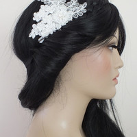 Bridal lace headpiece Hair comb Ivory Beaded lace floral wedding hair piece bride hair comb