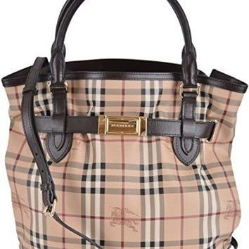 Burberry Women's Brown Haymarket Nova Check Crossbody Purse