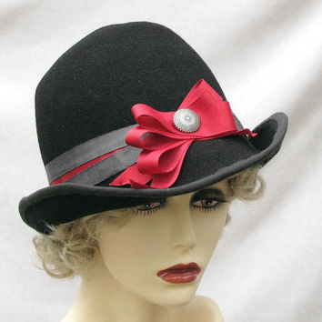 Vintage Style Fedora 1940s in Black Wool Fabric by BuyGail on Etsy