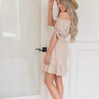 Staying Tan Polka Dot Dress