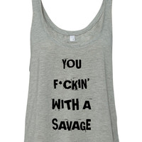 """Demi Lovato """"Sorry Not Sorry / You F*ckin' With a Savage"""" Boxy, Cropped Tank Top"""