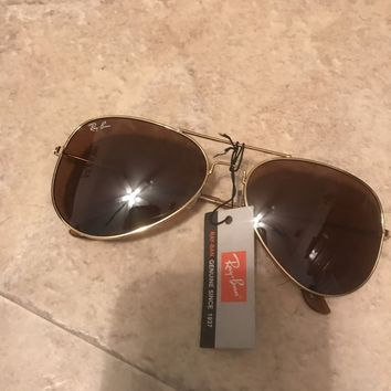 Cheap Ray Ban Gold Frame Brown Lense Large Frame outlet