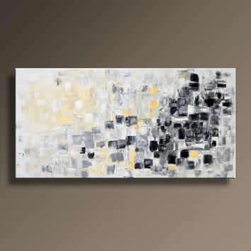"48"" Large Original ABSTRACT Painting on Canvas Contemporary  Modern Art  WHITE and GRAY Black Yellow wall decor - Unstretched"