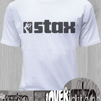 stax TShirt Tee Shirts Black and White For Men and Women Unisex Size