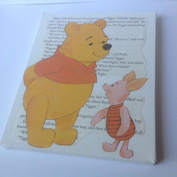 Pooh Canvas Wall Art Nursery Baby Book Art