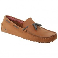 Lacoste Mens Concours Tassle 5 SRM Leather Loafer in Dark Tan