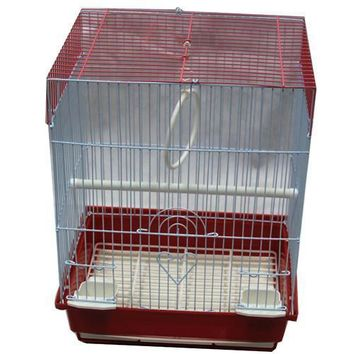 Iconic Pet - Flat Top Bird Cage - Small - Red