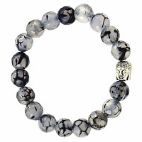 Black and White Dragon Agate Buddha Bead Bracelet
