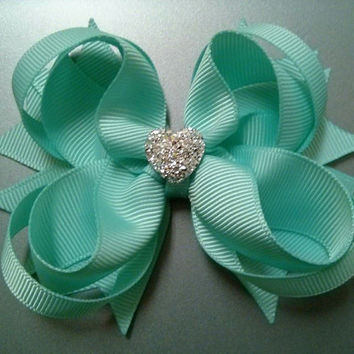 NEW!!! Tiffany Blue or Aqua Stacked Boutique Hair Bow with Sparkly Heart