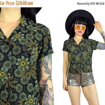 25%SALE vintage 90s floral burnout shirt sheer gauzy soft grunge 1990s button up crop top blouse hippie boho gypsy small