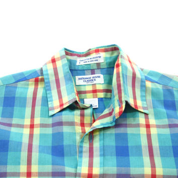 Vintage 1980s Plaid Shirt in Teal, Blue, Red and Yellow - Men's Size Small Sm S - Sale