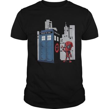 Deadpool Tardis T Shirt Premium Fitted Guys Tee