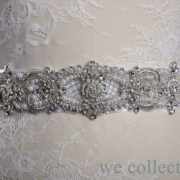 Free shipping! 3D handmade Crystal Rhinestone & Pearl embroidery wedding sash,Wedding Accessories,wedding sash,bridal sash,dress sash belt