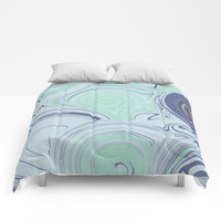 Spiraling Blue Comforters by sm0w