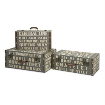 3 Storage Boxes - Travel Trunk Inspired Design