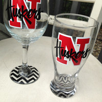 Nebraska cornhuskers inspired wine glass nebraska huskers graduation gift housewarming gift grooms gift bridal party wine glasses