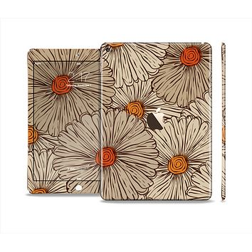 The Tan & Orange Tipped Flowers Pattern Skin Set for the Apple iPad Air 2