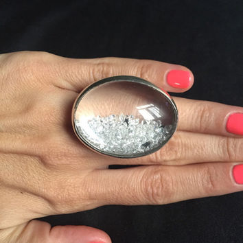 New Unique 250 Semi Diamonds Gorgeous Silver Ring / HandMade Statement Ring By AAKASHA
