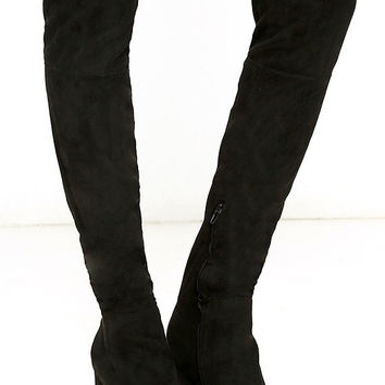 Siren Pia Black Suede Over the Knee Boots