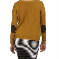 Mustard Hi Lo Elbow Patch Sweater