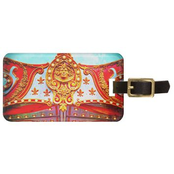 Gold face on sparkly carousel photo luggage tag