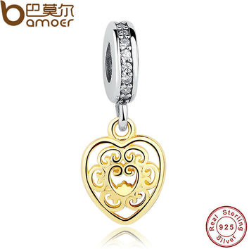 925 Sterling Silver Magnificent  Gold Color Filigree Heart Charm Fit Original Bracelet DIY Sterling Silver Jewelry PAS152