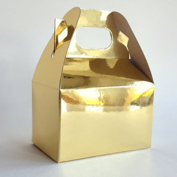 "10 Small Metallic Gold Gable Boxes 4"" x 2.5"" x 2.5""  Wedding Favor Boxes, Treat Boxes, Valentines Day Box, Mod Gift box"