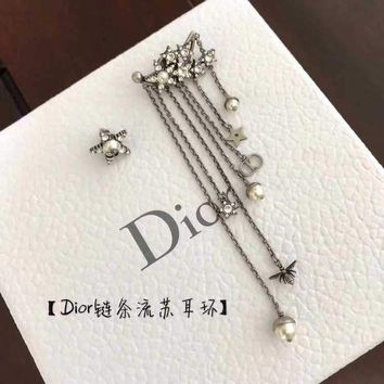 ONETOW Dior asymmetric Earring 2018 Trending S925 Sterling Silver Double C full drill Rhinestone gold hoop stud drop Jewelry