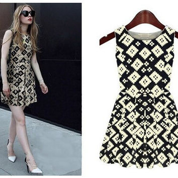 Summer Sleeveless Slim Plaid Women's Fashion Vest One Piece Dress [6338822337]