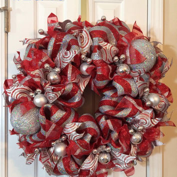 Christmas Silver Red Deco Mesh Wreath