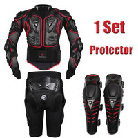 HEROBIKER Red Motorcycle Body Armor Motocross Armour Motorcycle Jackets+ Gears Short Pants+protective Motocycle Knee Pad
