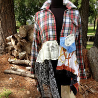 Fall flannel romantic shabby boho upcycled lagenlook duster, M