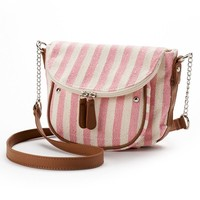 Candie's Layla Striped Crossbody Bag (Pink)
