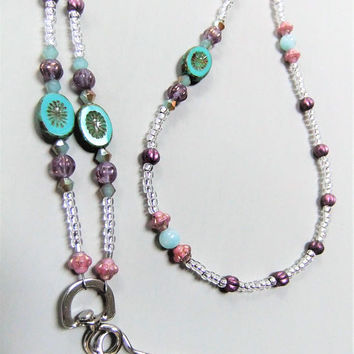 Amazonite Stone Beaded ID Name Badge Holder or Lanyard Necklace Aqua and Purples Czech Glass Flower Beads Purple and Pink Czech Glass Beads